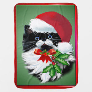 Tuxedo Kitty at Christmas Baby Blanket