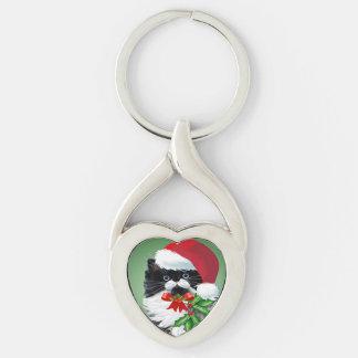Tuxedo Kitty at Christmas Key Ring