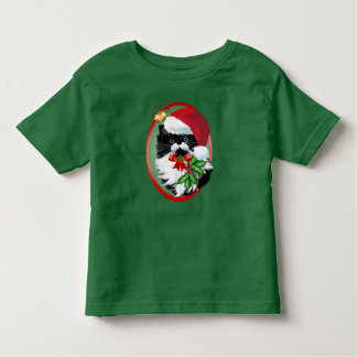 Tuxedo Kitty at Christmas Oval Toddler T-Shirt