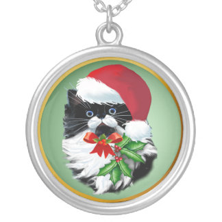 Tuxedo Kitty at Christmas Silver Plated Necklace