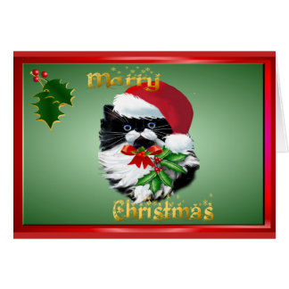 Tuxedo Kitty at Christmas-text Card