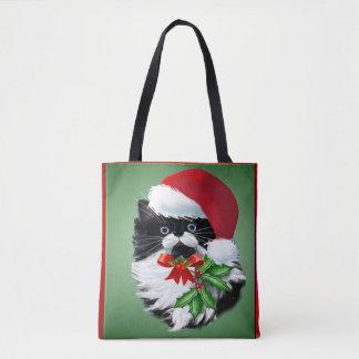 Tuxedo Kitty at Christmas Tote Bag