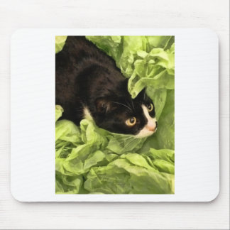 Tuxedo Kitty Hiding in Tissue Paper Mouse Pad