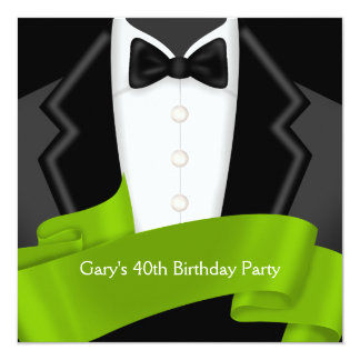 Tuxedo Mans Black Green 40th Birthday Party 13 Cm X 13 Cm Square Invitation Card
