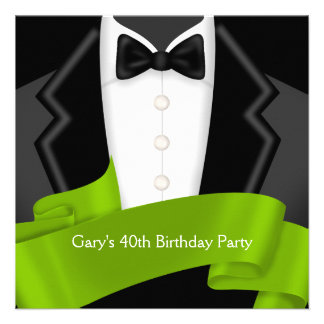Tuxedo Mans Black Green 40th Birthday Party Invitation