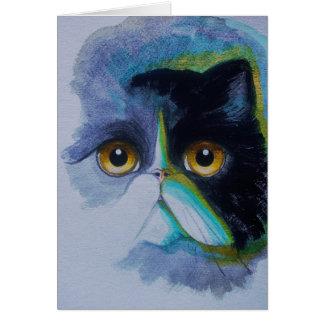 TUXEDO PERSIAN CAT Greeting Card,white envelope Card