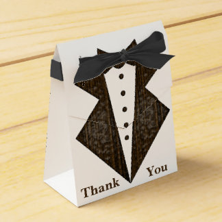 """Tuxedo Revenge"" Brown Tux Favour Box"