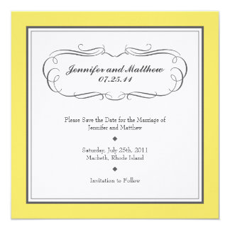 Tuxedo Save the Date - Yellow and Gray on Linen 13 Cm X 13 Cm Square Invitation Card
