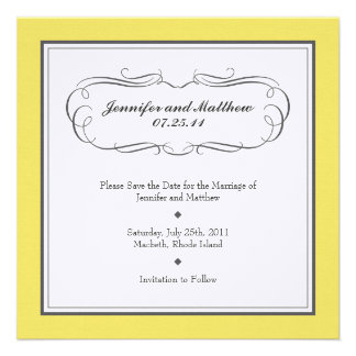 Tuxedo Save the Date - Yellow and Gray on Linen Announcements