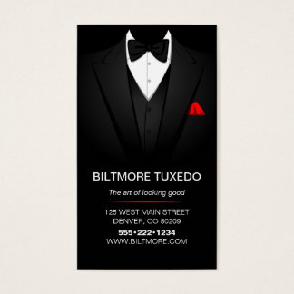 Tuxedo Suit Mens Clothing Modern Clean Business Card
