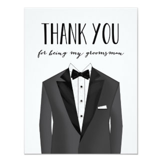 Tuxedo Thank You Groomsman | Groomsman 11 Cm X 14 Cm Invitation Card