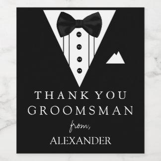 Tuxedo Thank You Groomsman Wine Label