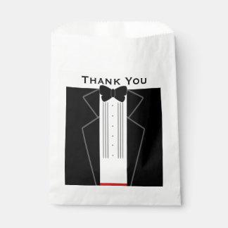 Tuxedo Thank you White Wedding Favor Bag