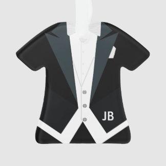 Tuxedo White Tie Tails Formal Wear Custom Monogram Ornament