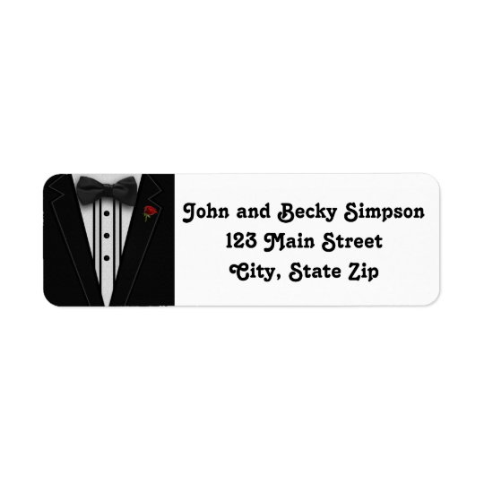 Tuxedo with Bow Tie Monogram Return Address Label