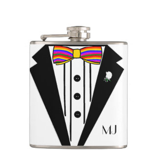 Tuxedo With Rainbow Bow Tie Wedding Hip Flask