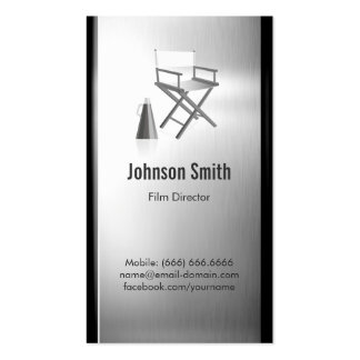TV Film Director - Brushed Stainless Steel Metal Double-Sided Standard Business Cards (Pack Of 100)
