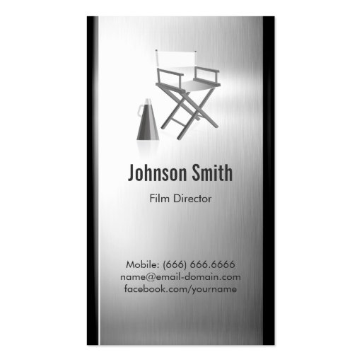 TV Film Director - Brushed Stainless Steel Metal Business Cards