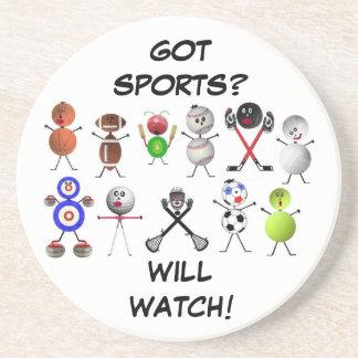 TV Sports Fanatic Drink Coasters