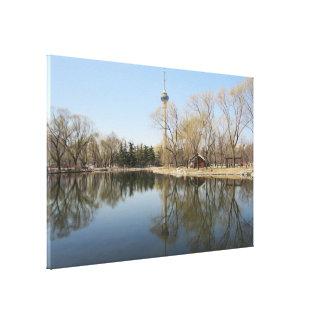 tv tower lake canvas print