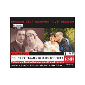 TV Wedding Anniversary Breaking News Graphic Canvas Print