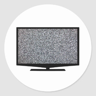 TV with static Classic Round Sticker