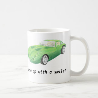 "TVR Tuscan, green car mug ""wake up with a smile"""