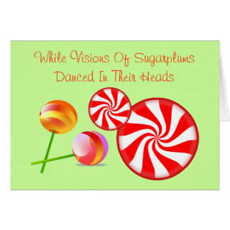 Twas Night Before Christmas Candy Modern Red Greeting Card