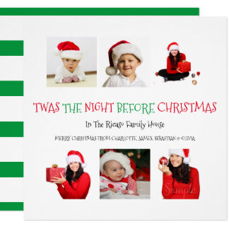 Twas The Night Before Christmas 6 Photo Template Card