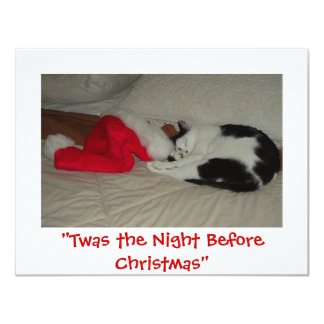 Twas the Night before Christmas Kitten 11 Cm X 14 Cm Invitation Card