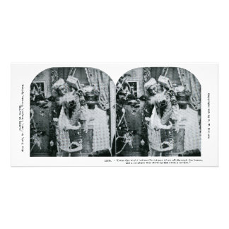 Twas the Night Before Christmas Stereoview 1897 Photo Greeting Card