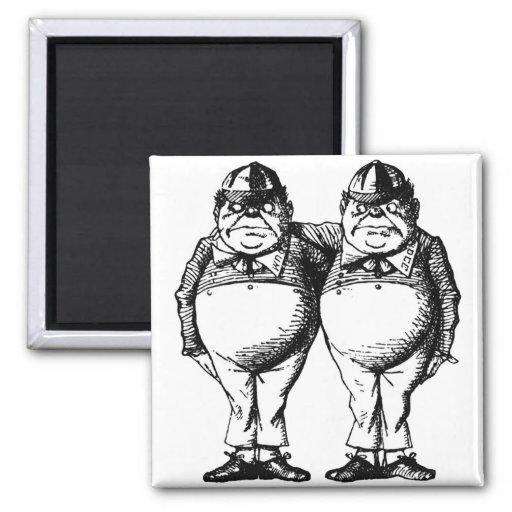 Tweedle Dee and Tweedle Dum Square Magnet