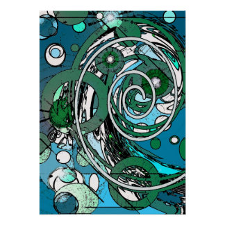 Tween Circles - Blue / Green Abstract Poster