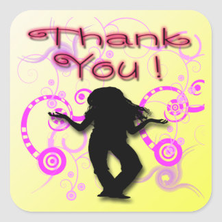 Tween Girls Birthday Party Thank You envelope seal Square Sticker