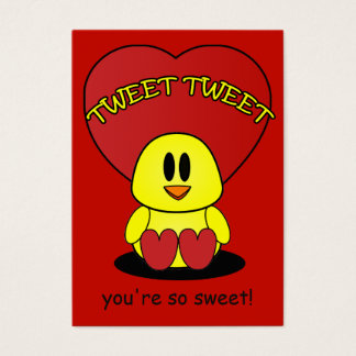 Tweet Sweet Chick Valentine Red Heart Kids Pack Business Card