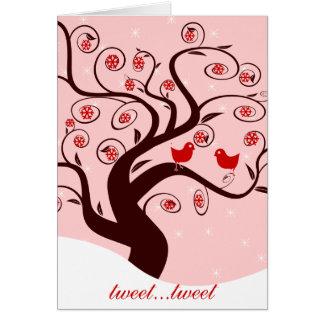 Tweet Tweet Cute Birds Swirl Tree Sweet Holidays Card