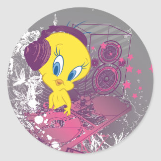 Tweety Djing Round Sticker