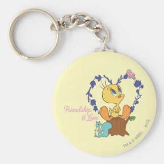 "Tweety ""Friendship And Love"" Basic Round Button Key Ring"