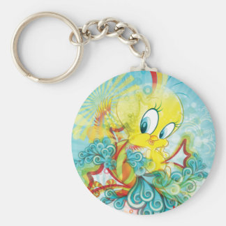 Tweety In Blue Wave Basic Round Button Key Ring