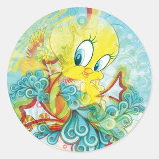 Tweety In Blue Wave Classic Round Sticker