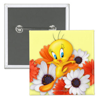 Tweety With Daisies 15 Cm Square Badge