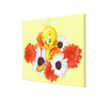 Tweety With Daisies Stretched Canvas Print