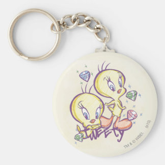 Tweety with Gems Basic Round Button Key Ring