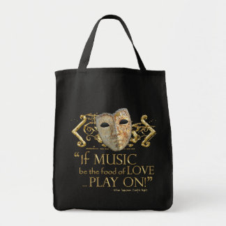 Twelfth Night Music Quote (Gold Version) Bags