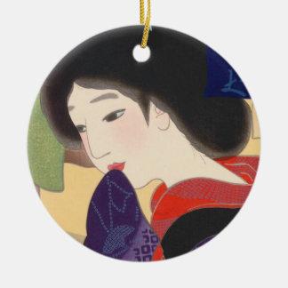 Twelve Aspects of Fine Women, Noren Terukata Ikeda Round Ceramic Decoration