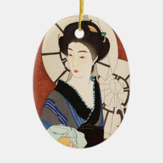 Twelve Aspects of Women, After The Bath Kotondo Ceramic Oval Decoration