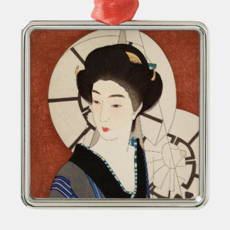 Twelve Aspects of Women, After The Bath Kotondo Silver-Colored Square Decoration