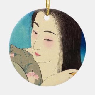 Twelve Aspects of Women, Hair Combing Kotondo Round Ceramic Decoration