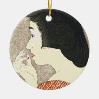 Twelve Aspects of Women, Lipstick Torii Kotondo Round Ceramic Decoration
