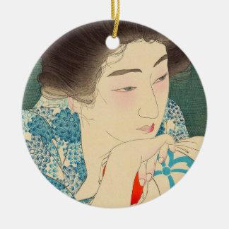 Twelve Aspects of Women, Morning Hair Torii Kotond Round Ceramic Decoration